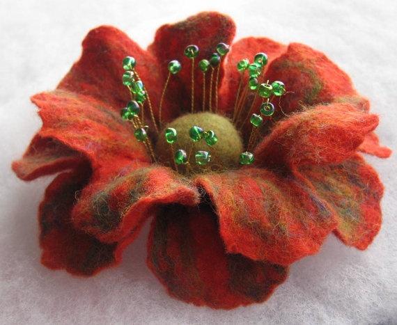 Flowers Brooch Felted Flower Hand felted brooch by JurateDD, $16.00