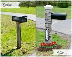 Super easy Lowes mailbox kit....has everything you need the brick just slides on the post!!! Wow!!!