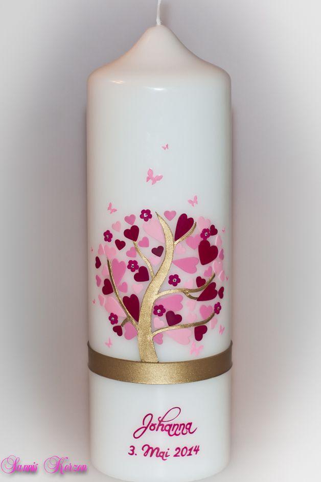 Taufkerzen - Taufkerze Herzbaum - ein Designerstück von Sannis-Wunschkerzen bei DaWanda