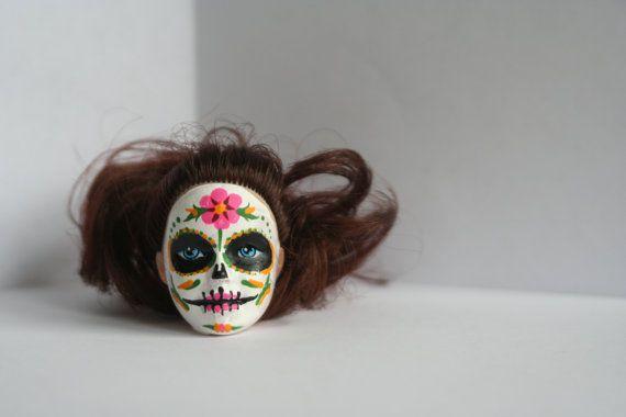 Day of the Dead/Dia de los Muertos/Sugar Skull Barbie Head Ornament/Car Mirror Decor