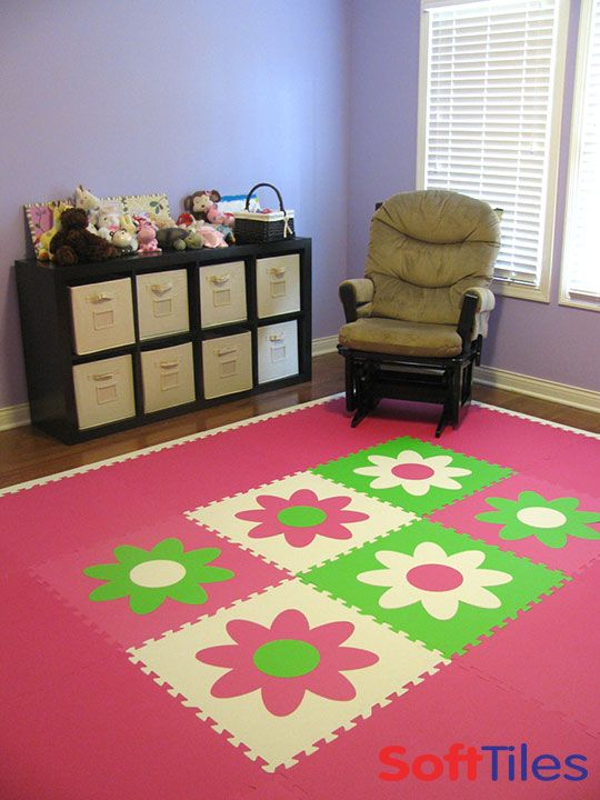 Nursery room floor play mat using softtiles flower mats in for Best carpet for baby nursery