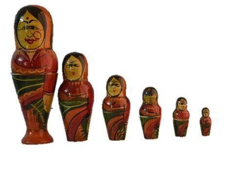 kondapalli doll 6 in 1 female doll bib size made in soft wood.Size in cms :  17 * 10 * 7 * 6 * 4 * 3