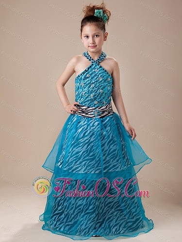 2013 cute-zebra-halter-blue-girls-dress-with-beading-fashionos.com  childrens pageant dresses,toddler girls pageant dresses,toddler pageant dress,pageant dresses toddlers,pageant dresses for toddlers girls,newborn pageant dress,cheap pageant dresses for infants