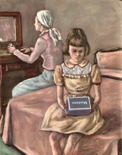 How shall I tell my daughter?, 1954. Give her a giant box of pads, and then turn away in shame.