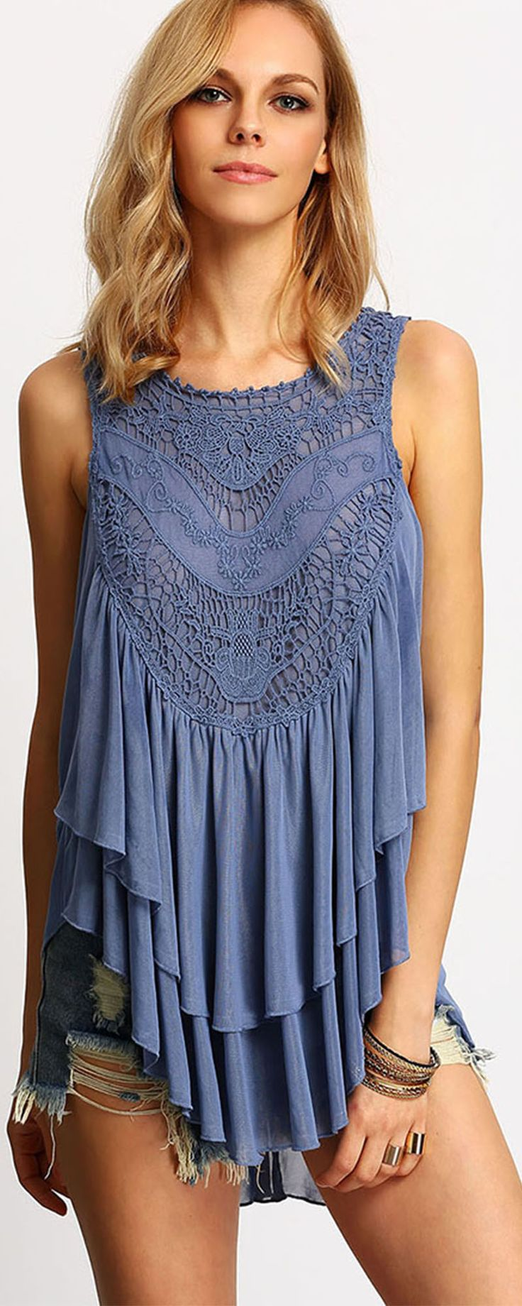 Blue Sleeveless Crochet Layers Ruffle Blouse