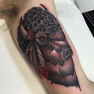 842 best neo traditional tattoos images on pinterest for Traditional bison tattoo