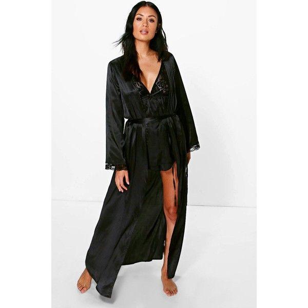 Boohoo Ellie Lace Sleeve Satin Maxi Kimono Robe ($26) ❤ liked on Polyvore featuring intimates, robes, black, satin kimono, kimono dressing gown, robe kimono, satin robe and satin kimono robe