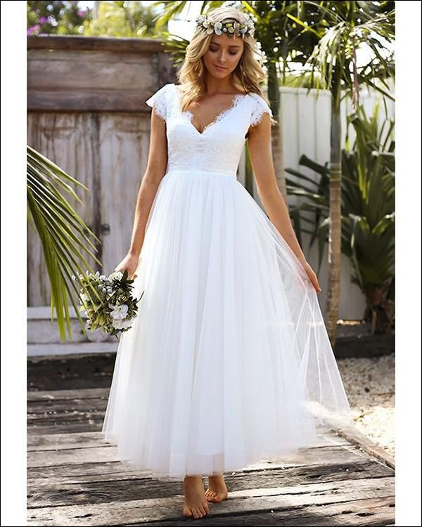 2018 Summer Beach Wedding Dresses A Line V Neck Cap Sleeve Open Back
