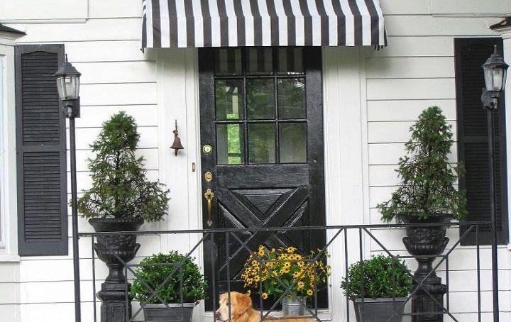 Diy Striped Awning With Images Diy Awning Front Door Awning Door Awnings