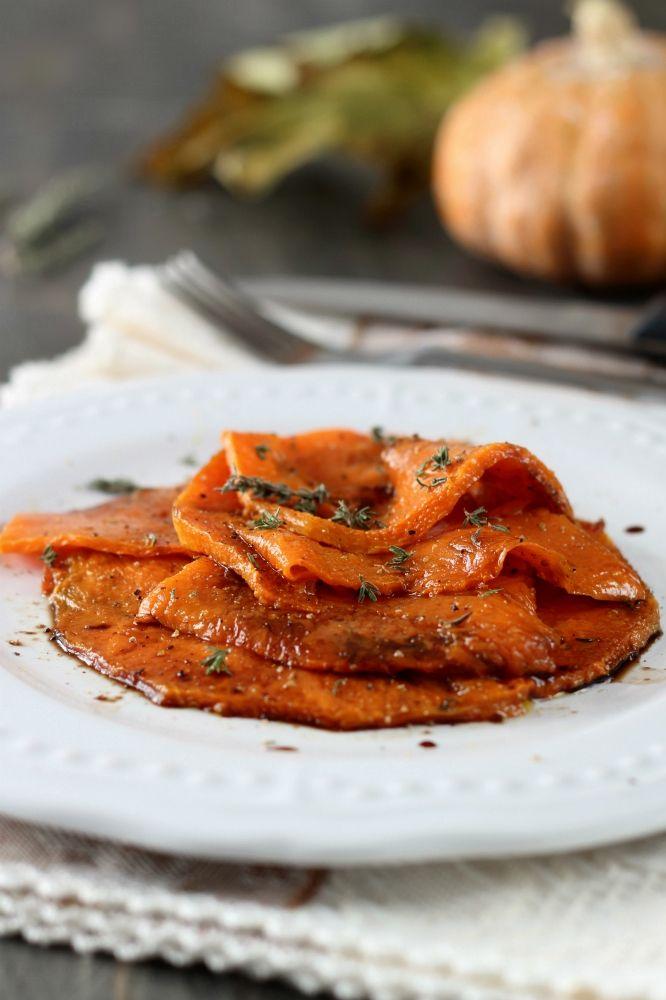 Carpaccio di zucca all'aceto balsamico antipasto secondo vegetariano cottura al forno facile e veloce Statusmamma gialloblogs