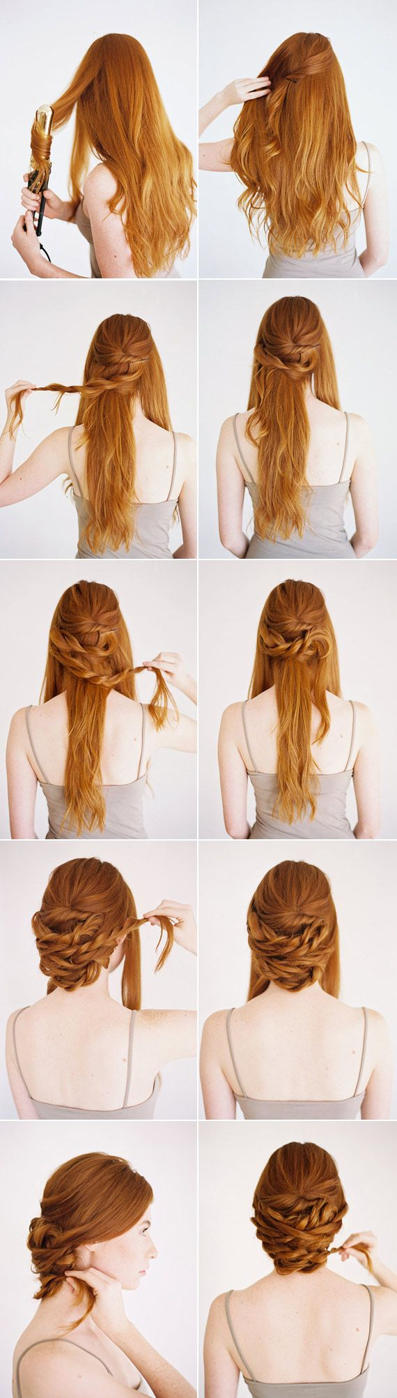 How-to create a low twisted updo - there's a lot of room for clip in extensions & fillers here, especially in the middle of the hairstyle.