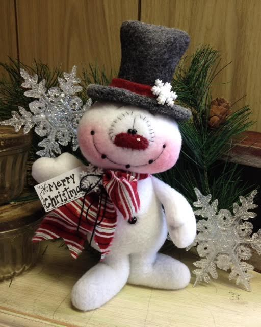 "Primitive HC Holiday Christmas Doll Snowman Snowflake 8"" Super Cute! #IsntThatCute #Christmas"