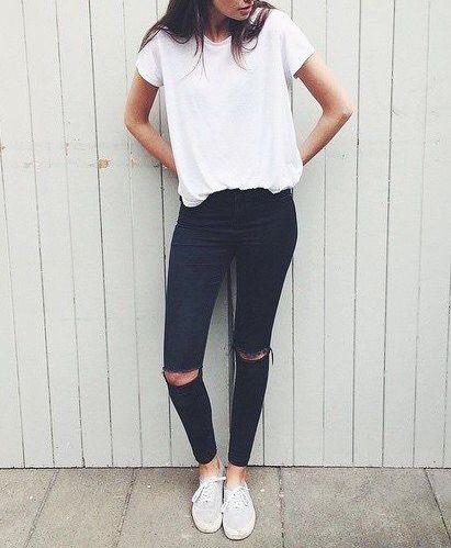 white tee + black jeans