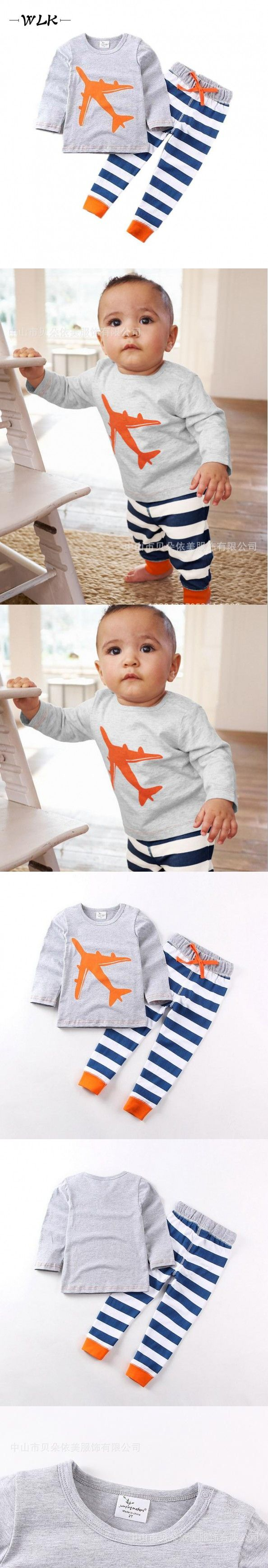 2016 Newest Kids Clothes European Style Spring Boys Sets Cartoon Plane Print Tops + Strpied Long Pant Baby Suits Boys Sets $11.36