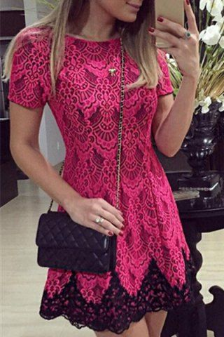 Elegant Jewel Neck Color Block Crochet Lace Dress For Women