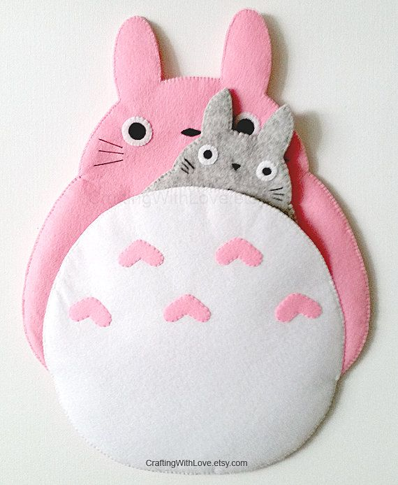Totoro My Neighbour Mini iPad Case. Pink Clutch Bag, Cosmetic Pouch. iPhone, Kindle Felt Case. Samsung Gadget Tab, Note Sleeve. Cute Gift.