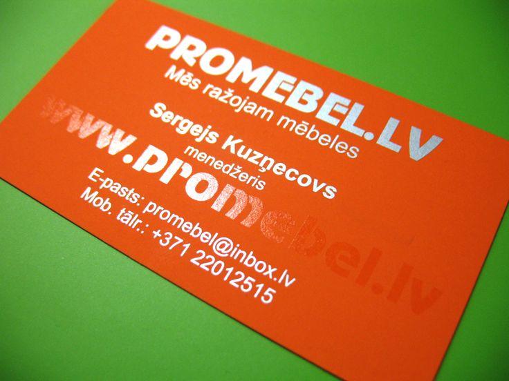 Glossy orange business card with serigraphy / Oranžā un koša vizītkarte mēbeļu veikalam / Яркие и сочные визитки для мебельного салона