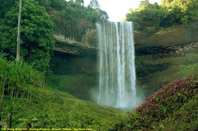 Awesome Videoshp: Tad Alang Waterfall ,Sekong Province ,Bolaven Plat...