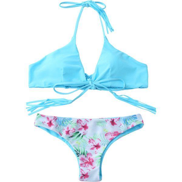 Macrame Tropical Print Wrap Bikini Set ($13) ❤ liked on Polyvore featuring swimwear, bikinis, bikini two piece, blue crochet bikini, crochet beachwear, tropical print swimwear and blue bikini