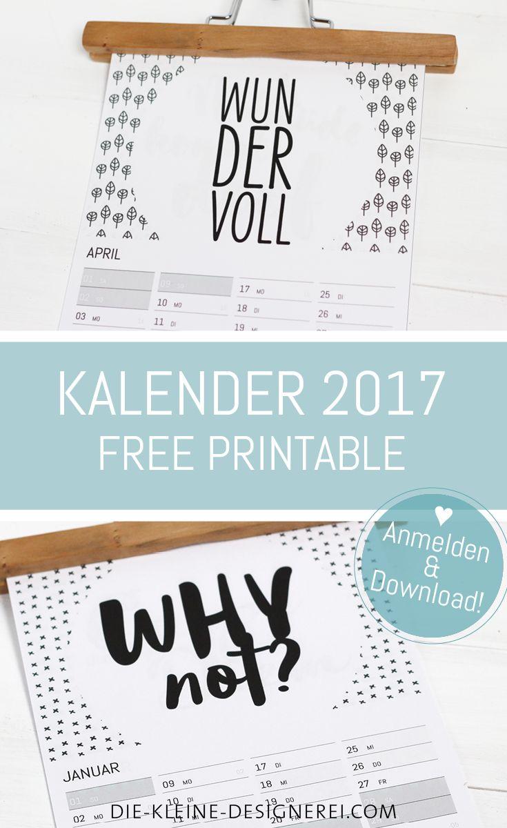 Wandkalender 2017 als A4 Printable, zum Ausdrucken als pdf, auf www.die-kleine-designerei.com