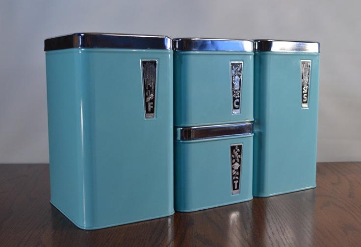 vintage retro turquoise blue eatons tin chrome metal
