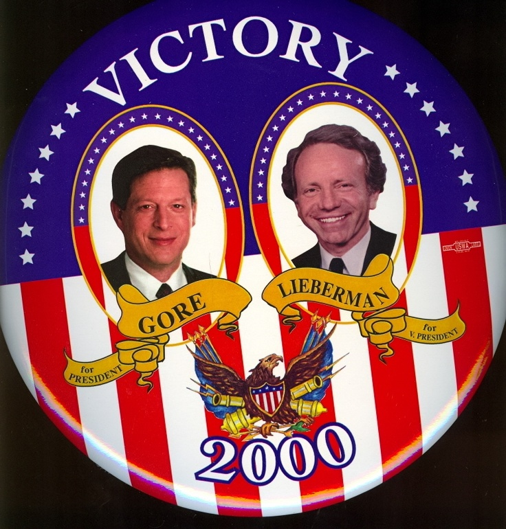2000: Democratic Vice President Al Gore ran for President with running mate Joe Lieberman and lost to Republicans George W. Bush and Dick Cheney.