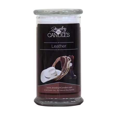 Leather Candle Strong, yet luxurious... Spicy, yet sensual... Man enough for him, yet sexy enough that she's going to want to burn it too! Enjoy the warmth of a classic leather scent that is the epitome of rugged masculinity. Top notes of spicy black pepper, with base notes of patchouli.
