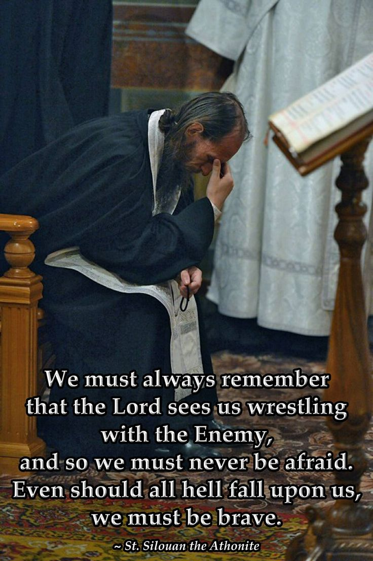 We must always remember that The Lord sees us wrestling with the Enemy, and so we must never be afraid. Even should all hell fall upon us, we must be brave. St. Silouan the Athonite