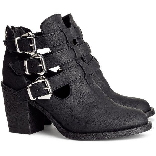 H&M Boots (690 UYU) ❤ liked on Polyvore featuring shoes, boots, ankle booties, zapatos, heels, black, black boots, ankle boots, heeled booties and black ankle booties