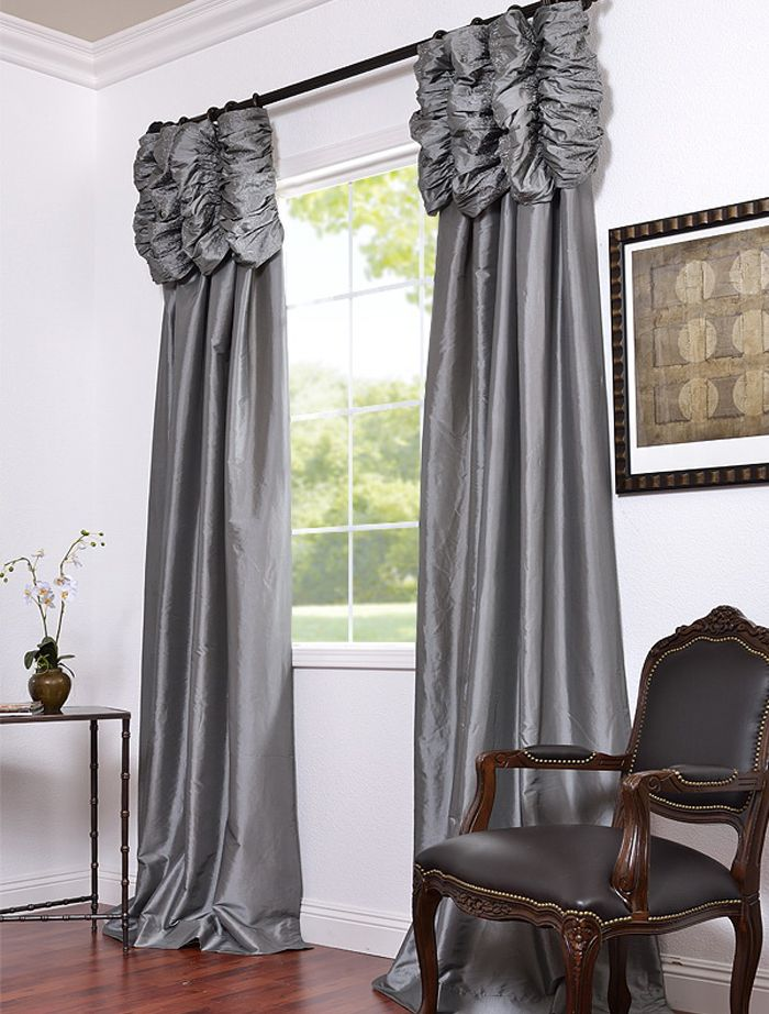 platinum embroidered ruched faux silk taffeta curtains