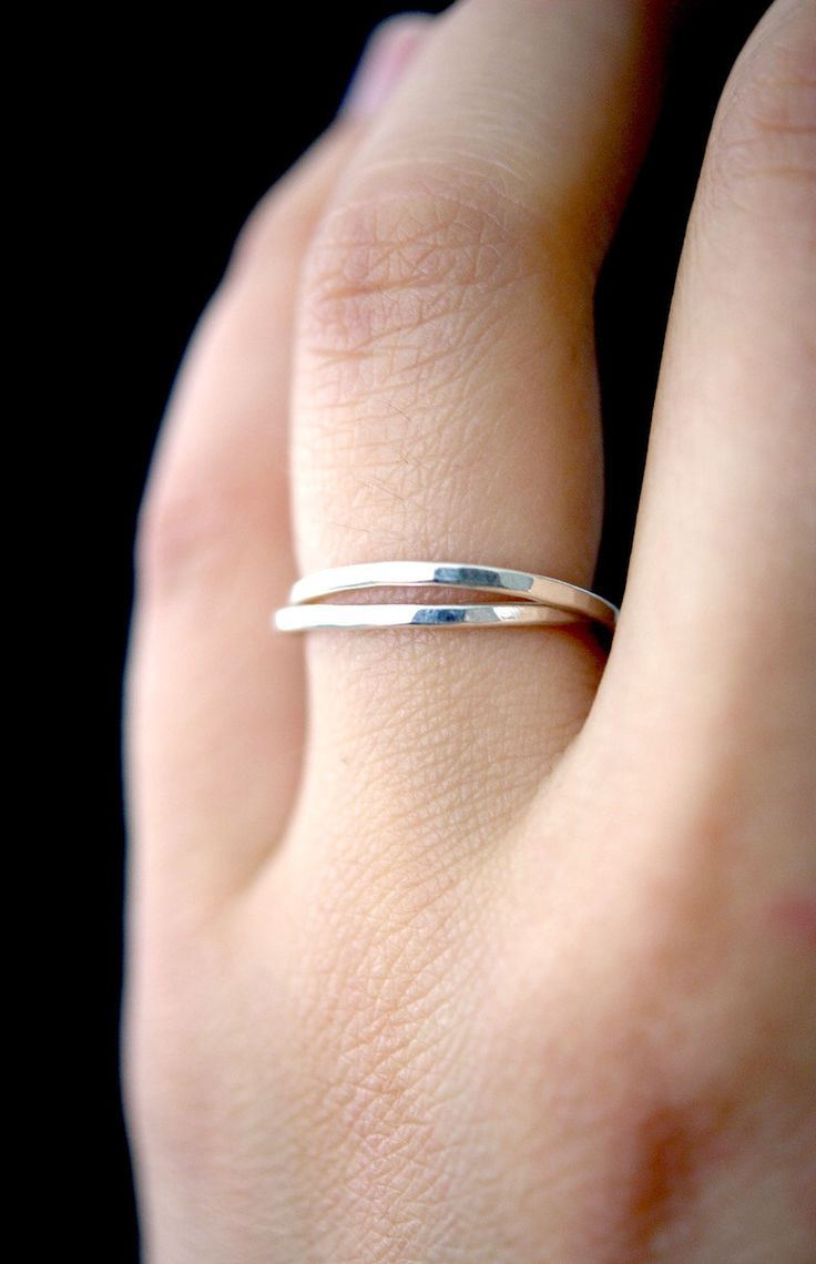 Silver Interlocking rings, Set of 2 Silver interlocking rings, russian ring, rolling rings, wedding ring, hammered silver ring by hannahnaomi on Etsy https://www.etsy.com/listing/400275775/silver-interlocking-rings-set-of-2