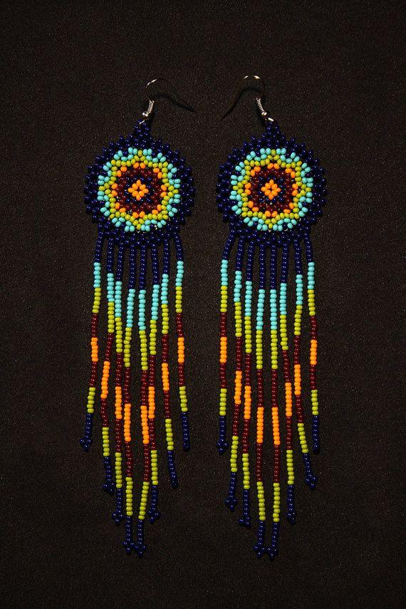 Dark Blue Native American Beaded Earrings by BiuluArtisanBoutique