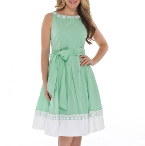 Beaded Neck A-Line Dress with Self Belt, mint green