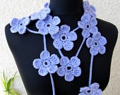 Crochet Scarf Lariat Modern Fashion 2013, Crochet Lariat Necklace Light Purple Flowers Scarf, Ready To Ship, Cyprus Crochet Lyubava: Crochet Scarf, Purple Flower