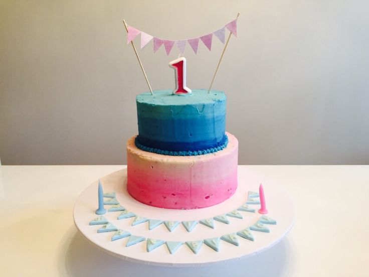 2 tier Pink & Blue Ombré - white chocolate mud cake with buttercream icing. Happy Birthday Sam & Bianca! July 2015