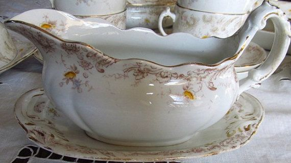 SALE Victorian Gravy Boat And Saucer Yellow by AuntSuesVintage, $47.99