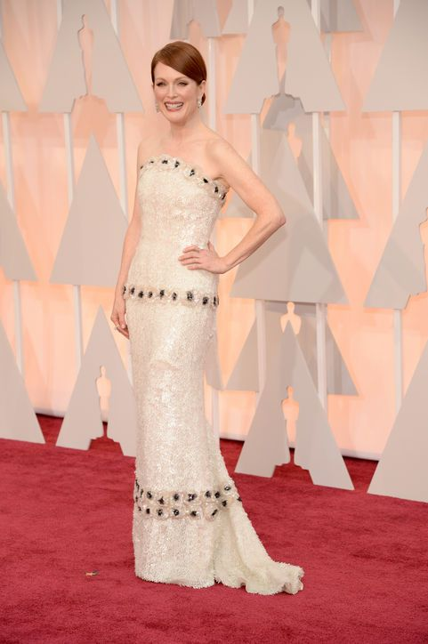 Julianne Moore in custom Chanel at the 2015 Oscars