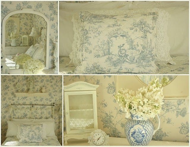 Beautiful guest bedroom and a mint for your pillow for Toile shabby chic