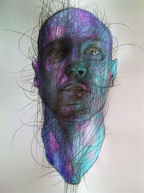 "Przemek Qbicki; Charcoal, Drawing ""after great feeling"""