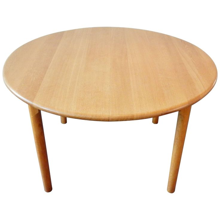 Round Extendable Dining Table, in Oak, by KP Møbler, Denmark, 1970s