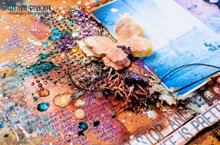 Scraps of Darkness Mixed Media Layout. Step-by-step tutorials