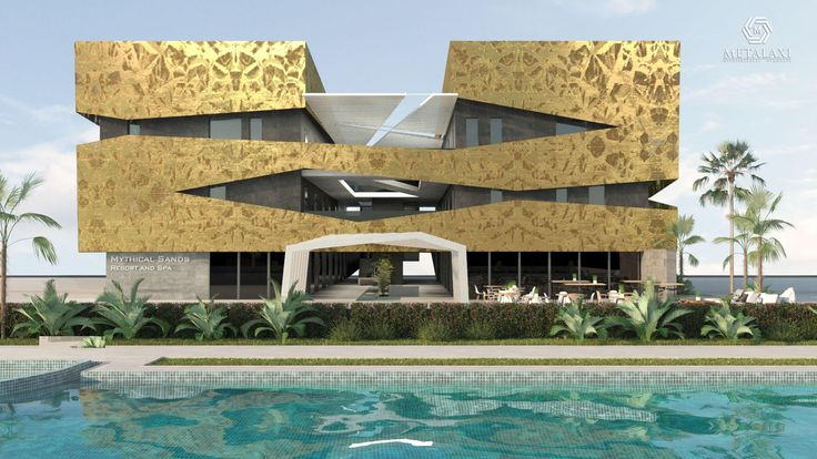 BUILDING FACADE - Recovery Building System made of perforated aluminium. Spa Building in Cyprus. Innovative Architectural Products. Life is in the details. www.metalaxi.com