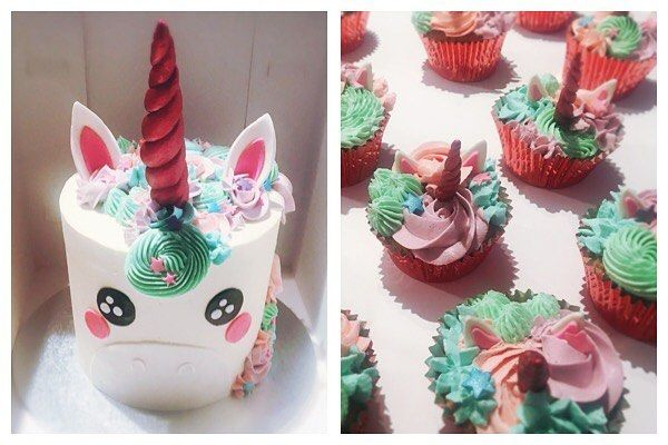 Double trouble! 🦄🦄 look at those teeny unicorn horns 🙊 a super sweet unicorn cake and little cuppies for a little lady's birthday 💜💙💗…