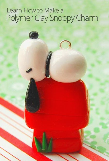 If you're a Snoopy fan, you won't be able to resist learning how to make this adorable polymer clay charm. He looks so cute and comfy laying on his doghouse!
