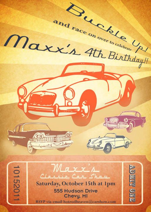 Classic Car Invitation Vintage Car Show By