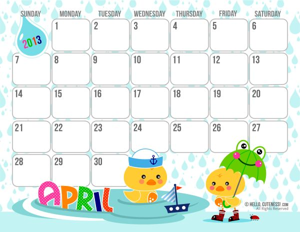 April calenderfreebie from Hellocuteness, love this site