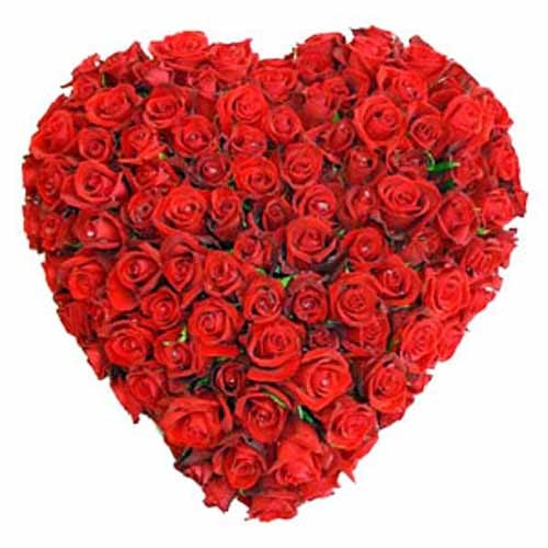 Send this Heart shaped basket of 50 red roses for your love.
