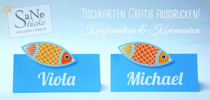 Konfirmation Tischkarten Fische zum GRATIS ausdrucken