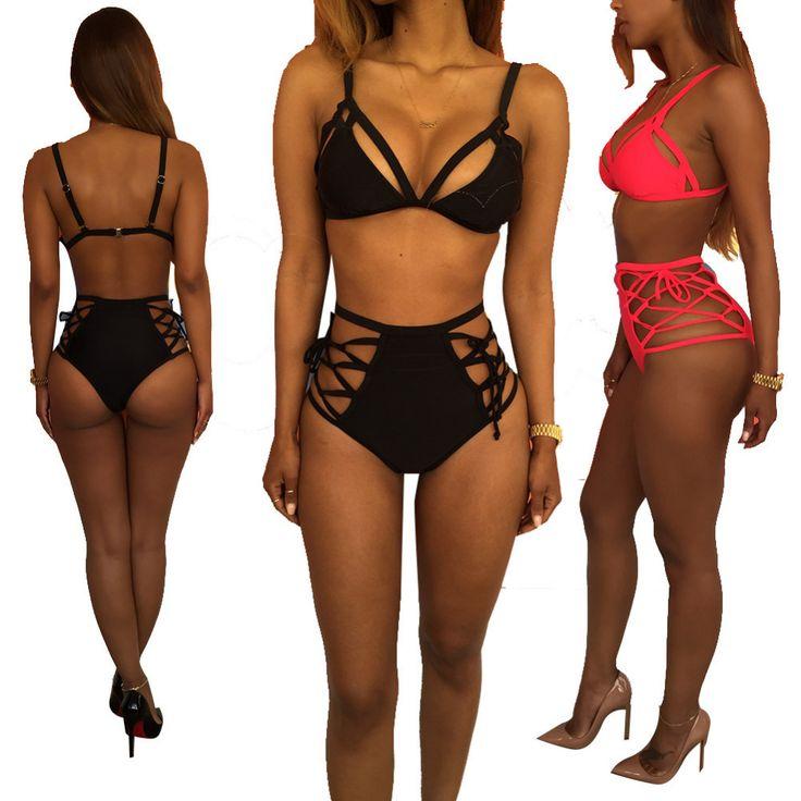 Sexy Halter Cross Spaghetti Strap Bandage swimwear push up thong bikinis set High waist swimsuit hollow out bathing suit Padded