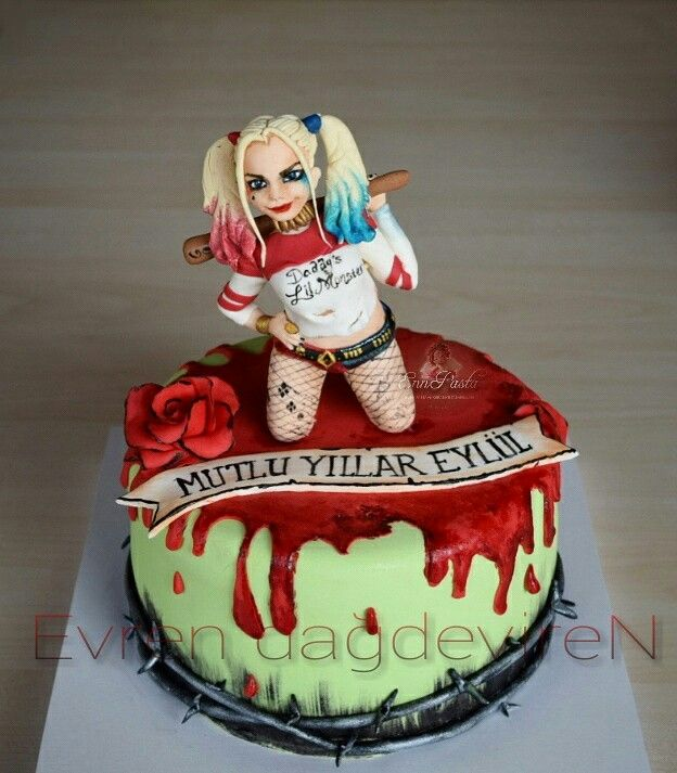 Suicide Squad Cake - with Harley Quinn fondant figure
